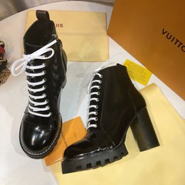 Heavy Duty Boxes Australia - New Fashion luxury designer womens shoes Ankle Boots Patent Leather and heavy-duty soles ladies winter Martin boots With original box