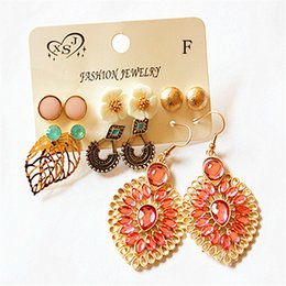 $enCountryForm.capitalKeyWord Australia - New fashion women's jewelry wholesale girl pink vintage floral beautiful mix and match 6 pairs  set earrings Christmas gift