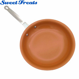 aluminum ceramic coating UK - Sweettreats Non-stick Copper Frying Pan with Ceramic Coating and Induction cooking,Oven & Dishwasher safe 10 & 8 Inches CJ191227