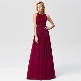 Cheap Xl Wedding Dresses NZ - Prom Dresses Elegant A-line Sleeveless O-neck Burgundy Lace Appliques Cheap Long Party Gowns For Wedding Guest Gala Jurken Q190522