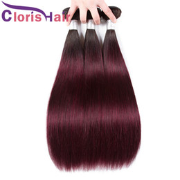 red wine ombre human hair weave NZ - Great Texture 1B 99J Silky Straight Human Hair Bundles Brazilian Virgin Burgundy Ombre Weave 3pcs Dark Roots Wine Red Colored Extensions