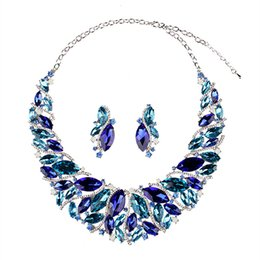 $enCountryForm.capitalKeyWord UK - Excellent Blue Champagne Green Crystals Jewelry 2 Pieces Sets Necklace Earrings Bridal Jewelry Bridal Accessories Wedding Jewelry T223298