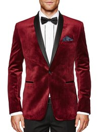 $enCountryForm.capitalKeyWord Australia - New Fashionable Groom Tuxedos Groomsmen One Button Dark Red Shawl Lapel Best Man Suit Wedding Men's Blazer Suits (Jacket+Pants+Tie) 1280