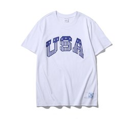 Discount usa t shirt designs High quality cheap brand 100% cotton white black short sleeve casual loose couples dress t shirts for men wome with USA