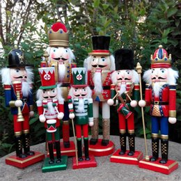 Wholesale black puppets for sale – custom Originality Coloured Drawing Wood Soldiers Puppet Toys Desk Office Bedroom Decor Ornament Nutcracker Doll Arts And Crafts hx gg