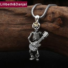 punk rock necklaces 2019 - 2019 Punk Rock Skull Guitar Pendant 100% 925 Sterling Silver Jewelry Men Women Best Friends Africa Necklace Pendant maki