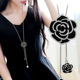 Girls stylish chain online shopping - Fashion ladies black rose long necklace sweater chain stylish women rose gleam long style gold silver pendant