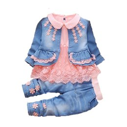 children winter wear NZ - Toddler Girl clothes 2019 New spring Autumn wear baby cowboy clothing sets 3pcs Kids baby cowboy suit children clothing setsMX190916