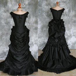 $enCountryForm.capitalKeyWord Australia - Black Taffeta Beaded Gothic Victorian Bustle Gown with Train Vampire Ball Masquerade Halloween Wedding Dress Steampunk Goth 19th century