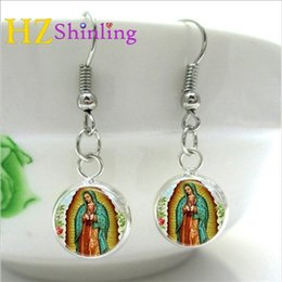 $enCountryForm.capitalKeyWord Australia - 2019 New Design Mary Religion Glass Cabochon Hook Earrings Hand Craft Silver Bronze Earings Cheap and High Quality Gift