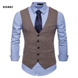 $enCountryForm.capitalKeyWord Australia - 2019 New Farm Wedding Brown Wool Herringbone Tweed Vests Custom Made Groom's Suit Vest Slim Fit Tailor Made Wedding Vest Men Plus Size