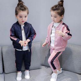 Girls Baseball Uniforms NZ - Baby Girls Clothing Set Kids Boutique Sets Outfits Children Sportswear Baseball Uniform Pant Sport Suit for Girl 3 5 6 8 Years