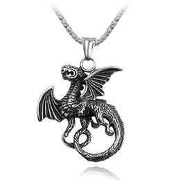 $enCountryForm.capitalKeyWord Australia - Fashion Flying Dragon Shape Pendant Necklace Metal Hollow Long Choker Chain Necklace For Men Halloween Cosplay Vintage Gift