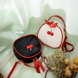 Skull Shaped Glitter UK - Cute Cherry Small Round Shoulder Bag Women 2019 Embossed Leather Crossbody bag Female Mini Black Messenger for Ladies Girls Kids