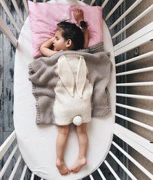 Hand Crochet Baby Blankets Australia - Retail Baby Rabbit Ear Blankets Kids 73*108cm Ins Hand Knit Blanket Crochet Swaddling Infant Cartoon Knitted Bath Towels mat