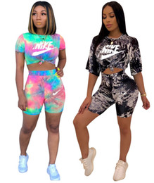 Wholesale women swimming shorts online – Women designer brand short sleeve piece sets outfits t shirt shorts outfits summer letter casual clothes pullover capris sports suit