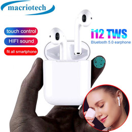 Iphone Calling NZ - New i12 TWS earphone Bluetooth 5.0 Wireless Touch Control Earbuds Binaural call automatic pair Headphones vs i10 for iphone xs samsung