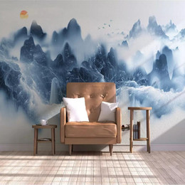 Chinese Painting Paper Australia - 3d Chinese TV background wall paper ink landscape artistic mural painting living room decoration film wall cloth wallpaper