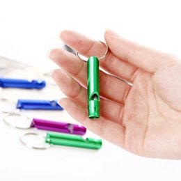 Wholesale New Aluminum Alloy Whistle Keyring Keychain Mini For Outdoor Emergency Survival Safety Sport Camping Hunting
