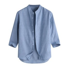 linen shirts NZ - Summer Men's Casual Striped Stand Collar Three Quarter Sleeve Button Cotton Linen Shirt Male Hot Sale Loose Top For 2019 Fashion