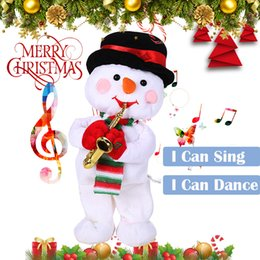 AnimAted plush toys online shopping - Christmas Electric Dancing Singing Snowman Animated Plush Toy Stuffed Animals Christmas Decorations For Home Navidad Nov