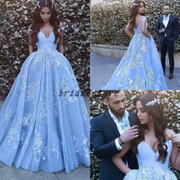 $enCountryForm.capitalKeyWord Australia - Beautiful Baby Blue Colored Ball Gown Prom Dresses Off Shoulders Ruched Floral Lace long arabic evening formal dress elegant 2018 engagement