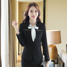 Wholesale dress office skirt resale online - Ladies skirt suit elegant ladies office is optional Women elegant skirt suits Business attire white collar dress suits blazers