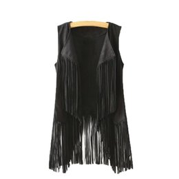 China Women Autumn Winter Suede Ethnic Sleeveless Tassels Fringed Vest Cardigan cheap sleeveless cardigan women suppliers
