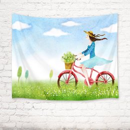 $enCountryForm.capitalKeyWord Australia - Spring Beauty Girl Ride Bicycle Tapestry Wall Hanging for Living Room Bedroom