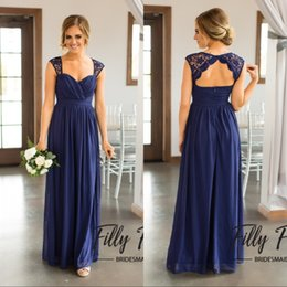 Pleat Cap Sleeves Australia - Sexy Long Royal Blue Chiffon Beach Bridesmaid Dresses Cap Sleeve Pleated Sexy Open Back Country Bridesmaids Dress Wedding Party Gowns