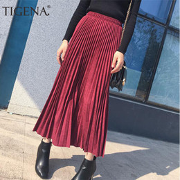b82859bf8 Tigena Suede Pleated Skirts Women Fashion Autumn Winter Long Maxi Female  High Waist Elegant Skirt Pink Green Blue Q190508