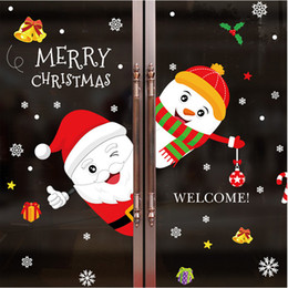 Festival Glasses Australia - 3D Cartoon Santa Claus Snowman Wall Stickers Home Decor Store Window Glass Poster Festival Christmas Decoration PVC Art Mural