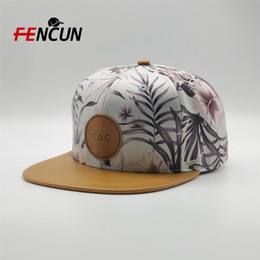 custom cap panels NZ - Wholesale 5 Panel Custom Leather Patch Logo Snapback Hats,Polyester Kids And Adult Snapback Cap,All Over Print Camp Breathable Snapback Hats