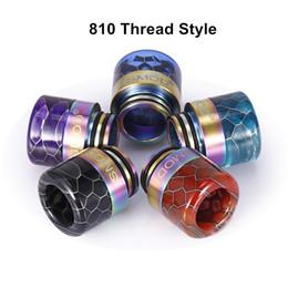 $enCountryForm.capitalKeyWord Australia - 810 510 Thread Epoxy Resin Snake Skin Grid Wave SS Rainbow Wide Bore Drip Tip Mouthpiece Vape for TFV8 TFV12 Prince DHL