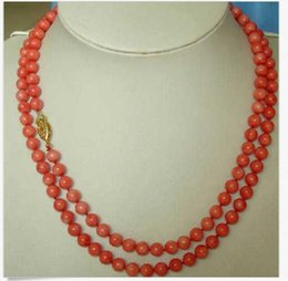 Perfect Gold Alloys Australia - PERFECT 36INCH NEW DESIGN LONG NATURAL 6MM RED CORAL NECKLACE 14K GOLD