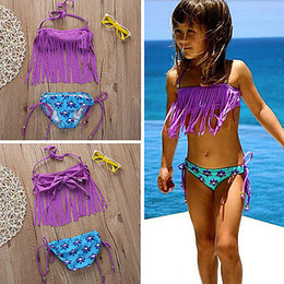 child girls bathing suits Australia - Cute baby little girls Bikini swimsuit bathing suit Girls Tassels Swimwear Baby Children Bathing Suit Biquini infantils
