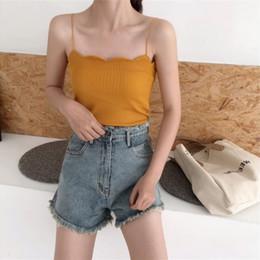 strip off women 2019 - Women Tank Tops Slash Neck Knitted Crop Tops Summer Camisole Sexy Vest Off Shoulder Halter Stretch T-Shirt Strips Sling