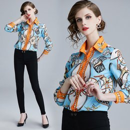 21c3521eb54bb7 2019 Spring Summer Fall Runway Luxury Floral Baroque Print Collar Button  Front Long Sleeve Women Casual Office OL Top Shirts Blouse