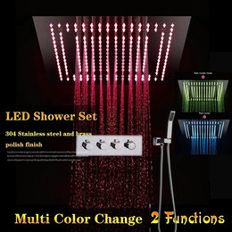 concealed shower set Australia - Complete Shower Set 3 Functions Luxurious Bath System Large Dual Rain Concealed Ceiling Showerhead Electricity Power LED Color Change