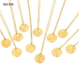 $enCountryForm.capitalKeyWord Australia - SHIXIN Lovely Cute 12 Constellation Pendant Choker Necklace Women Fashion Luxury Rhinestone Coin Long Chain Jewelry Female Gifts