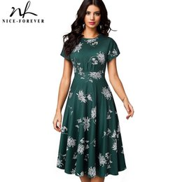 $enCountryForm.capitalKeyWord Australia - Nice-forever Vintage Elegant Floral Print Pleated Round Neck Vestidos A-line Pinup Business Party Women Flare Swing Dress A102 J190619