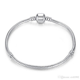 Wholesale 1pcs Drop Shipping Silver Plated Bracelets with LOGO Women Snake Chain Charm Beads for pandora Bangle Bracelet Children Gift B001