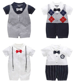 $enCountryForm.capitalKeyWord Australia - New Turn-down Collar Newborn baby Cotton rompers Short sleeve gentleman Style baby boy clothes infant babies jumpsuits overalls