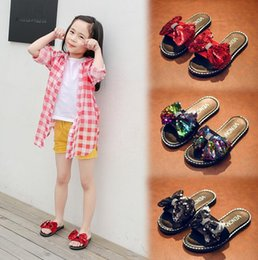 korean bow sandals NZ - Children's Slippers Summer New Girls Wild Casual Shoes Korean Outdoor Student Shoes Bows Words Sandals Children Sequins Sandals