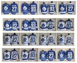 a480305e10c Retro Toronto Maple Leafs Hockey Jersey 93 Doug Gilmour 27 Darryl Sittler  Blue White Vintage CCM Authentic Stitched Jerseys