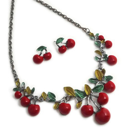 cherry jewelry sets Australia - Dress Jewelry Sets for Charm of Women Red Necklace Fashion Cherry Clavicle Chain Necklace Ear Stud Set Jewelry Accessory