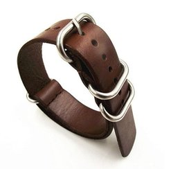 $enCountryForm.capitalKeyWord NZ - Wholesale- 1pcs 18MM 20MM 22MM 24MM Nato strap genuine leather coffee color Watch band NATO straps zulu strap watch straps