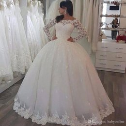 $enCountryForm.capitalKeyWord Australia - 2019 Long Sleeve Bateau Sheer Neck Plus Size Wedding Dresses Ball Gown Lace Applique Zipper Back Wedding Dress Bridal Gowns brautkleid