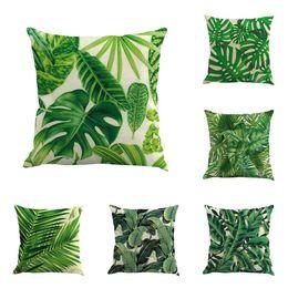 Tropikal Yapraklar Süslemeleri 6 Set Yumuşak Kadife Dekoratif Yastık Kapakları Tropikal Palm Monstera ile 18x18 Kapakları için Yaz Y ... indirimde