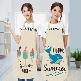 $enCountryForm.capitalKeyWord Australia - 1pc Kitchen Apron Cartoon Printed Sleeveless Cotton Linen Aprons for Men Women Home Cleaning Tools Summer oil-proof Apron
